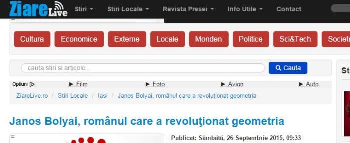 """Captură de pe http://www.ziarelive.ro/stiri/janos-bolyai-romanul-care-a-revolutionat-geometria.html; pe celelalte pagini s-a operat modificarea: în loc de """"românul"""" au pus """"matematicianul"""" ..."""